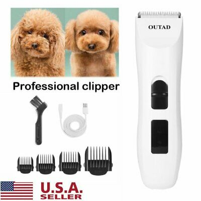US Pet Dogs Cat Rechargeable Cordless Electric Hair Clipper Grooming Trimmer Kit
