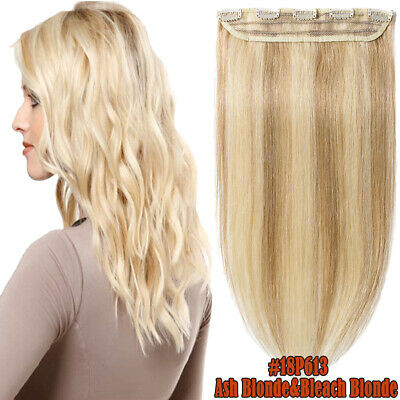 One Piece Clip On 100% Human Hair Extension No Shed Ash Blonde&Bleach Blonde M93