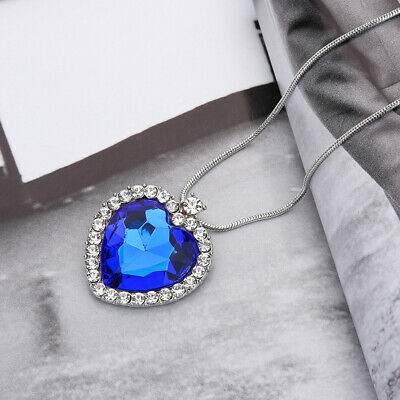 Stunning Titanic Heart of the Ocean Diamond Style Necklace Pendant For Girl Lady