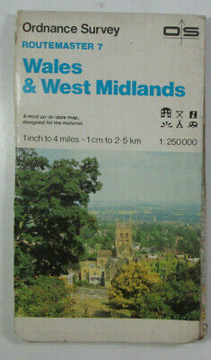 Old 1986 OS Ordnance Survey 1:250 000 Routemaster Map 7 Wales & West Midlands