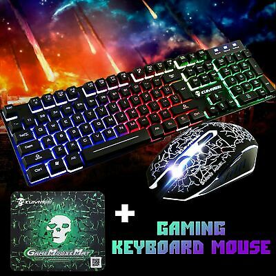 Rainbow Gaming Keyboard and Mouse Set T6 Backlight Ergonomic Usb for PC Laptop