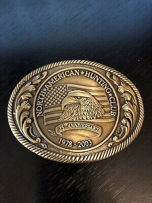 North American Hunting Club 25th Anniversary Belt Buckle 1978-2003 Eagle Flag