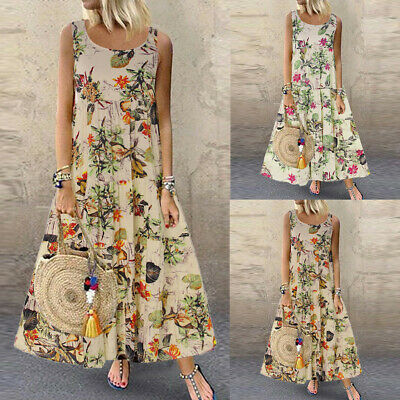 Plus Size Women Boho O-Neck Floral Print Retro Sleeveless Loose Long Maxi Dress