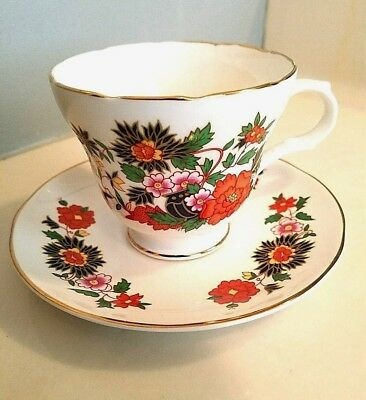 VINTAGE Tea Cup & Saucer Staffordshire England China Gold Trim CROWN TRENT