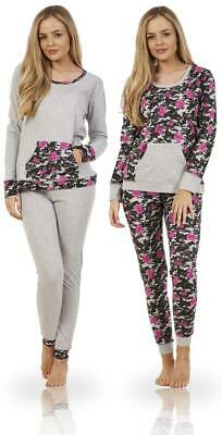 Ladies Long Sleeve Pockets Floral Print Cuffed Pyjama Set PJ'S Nightwear