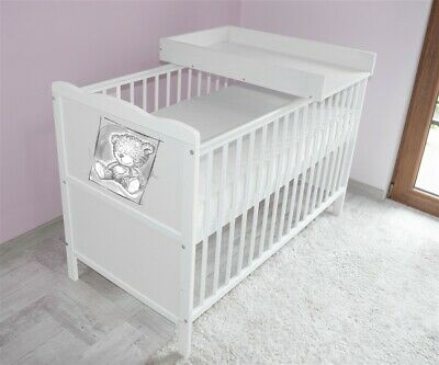 Wooden Baby Cot Bed✔Mattress✔Top Changer✔Teething rails-Converts to Junior Bed 7