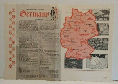 Vintage Paper Placemat 10x14in Germany Travel Ephemera facts history maps
