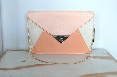 BNWT oasis peach pink snake print faux leather shoulder bag