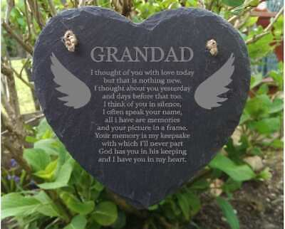 Slate Stone Heart Engraved Memorial Plaque Rememberance Dad Mum Sister Brother