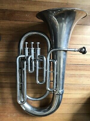 Vintage Tri-Star Euphonium  Horn Brass Silver Finish