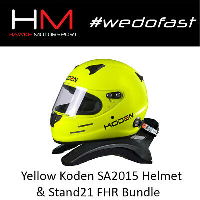 Koden SA2015 Approved Yellow Motorsport Helmet & Stand 21 CS1 HANS Device