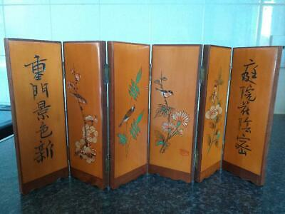vintage table top Chinese wooden screen signed