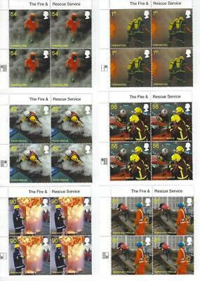 2009 Fire and Rescue Service set six in MNH corner blocks of 4