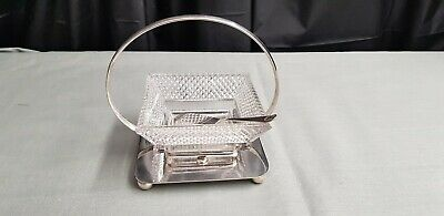 A Very Elegant Antique Silver Plated/glass Butter Dish By D&sg.