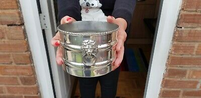 A Beautuful Vintage Silver Plated Wine Bottle Holder With Lions Heads.sheffield.