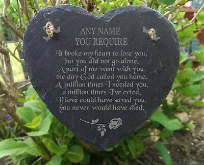 Slate Stone Heart Engraved Memorial Plaque Rememberance Grave Marker Keepsake