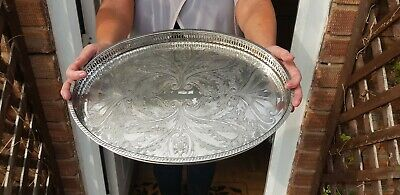 A Very Elegant Vintage Silver Plated Gallery Tray With Engraved Patterns.ornate.