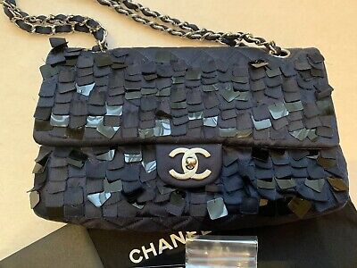 3f6cab2187e5 LIMITED EDITION CHANEL Navy Shearling & Kid Suede FUR Chain Short ...