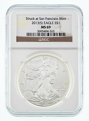2013-(S) $1 Silver American Eagle Graded by NGC as MS-69! Gorgeous Bullion