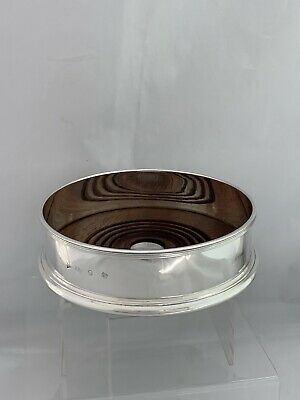 Solid Silver & Wooden Based Wine Coaster 1994 London Sterling Silver