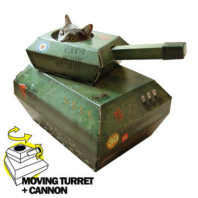 Cat PLAYHOUSE Cardboard Cat Tank with Moving Turret & Cannon