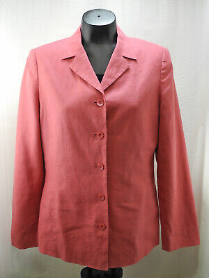 Laura Ashley Coral Pink 100% Linen Lined Blazer Jacket - Women's Size 8