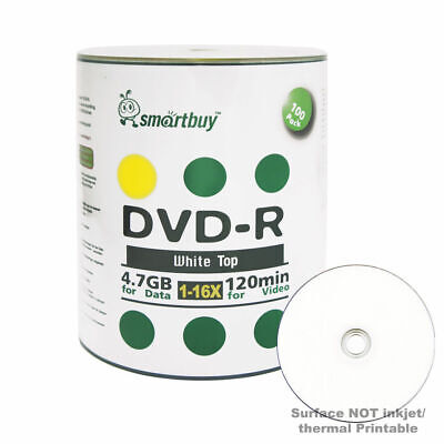 100 Smartbuy 16X DVD-R 4.7GB White Top Non Printable Blank Recording Disc