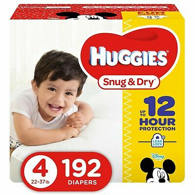 HUGGIES Snug & Dry Baby Diapers, Size 4 (fits 22-37 lbs.), 192 Count, Eco... New