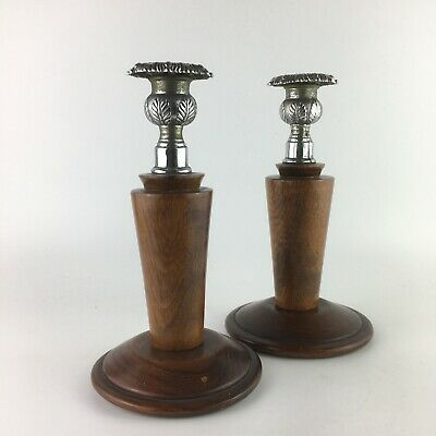 Vintage Wooden Silver Plated Candle Holders Candlesticks Art Deco Pair