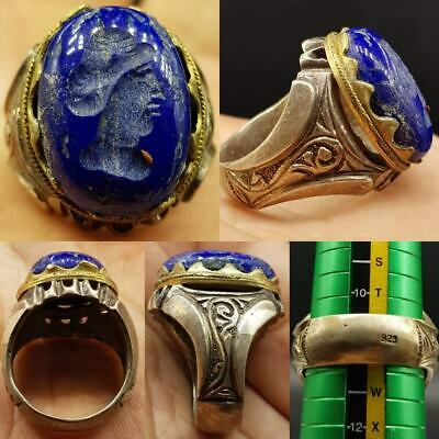 9.25 Silver Lovely Ring With Old Intaglio Face Lapis lazuli stone   # 21