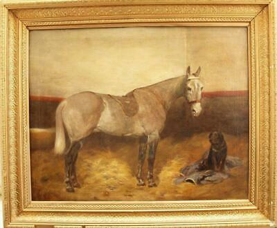 Fine 19th CENTURY Equestrian GREY BAY HORSE & BLACK LABRADOR STABLE Oil Painting