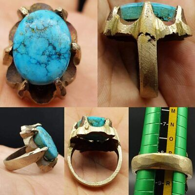 Medieval Old Lovely Turquoise Stone Beautiful Stunning Ring    # 21