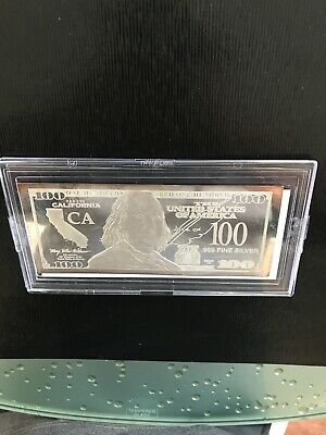 2018 State Of CA Proof $100 Dollar Bill 1 Troy oz .999 Fine Silver Bar W/ COA