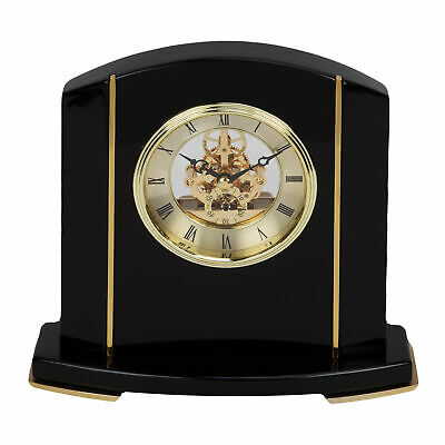 Black Piano Wood Skeleton Movement Mantel Clock Gold Metal Face