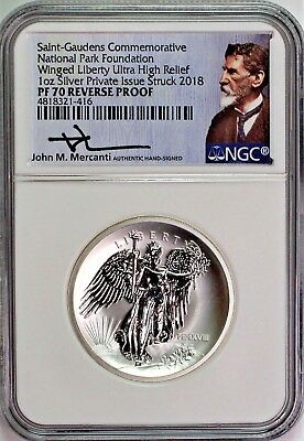 2018 Ultra High Relief Reverse Proof Silver Winged Liberty NGC PF70 Mercanti