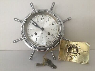 Vintage Salem Ships Bell 8 Day Clock Chrome Wheel Works