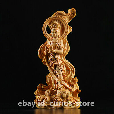 "6.1"" Chinese Tibetan Buddhism Box-wood Hand-carved Kwan-yin Guan Yin statue 渡海观音"