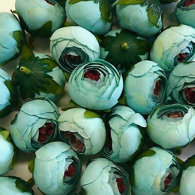 Artificial Flower Heads -  Tiffany Blue Peony Style 114 - 5 Pack