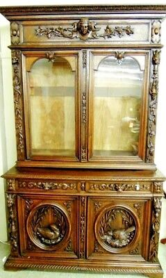 Antique Hunting  Cabinet  Bookcase   Griffin CarvedBirds Wheat  RARE