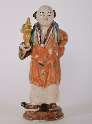 Antique Chinese Glazed Statue of a Man Holding Basket of Flowers Qing/Ming