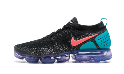 Nike Air Max Vapormax Flyknit 2 BLACK HOT PUNCH GREEN PINK PURPLE 942842-003 Men