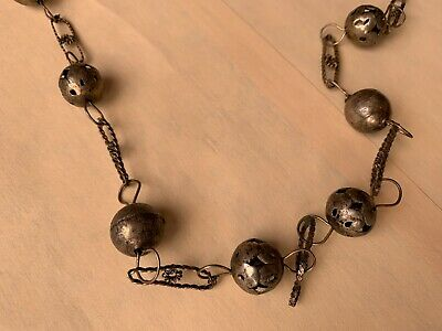 Antique Handcrafted Mexican Silver Beads Early 20th C
