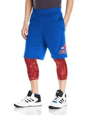 adidas Mens L Blue Red Basketball Gym Shorts 2 in 1 Leggings Crazylight GFX