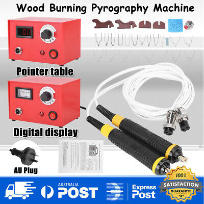 AU Plug 50W Digital Display Pyrography Pen Machine Kit Wood Crafts Burning Tools