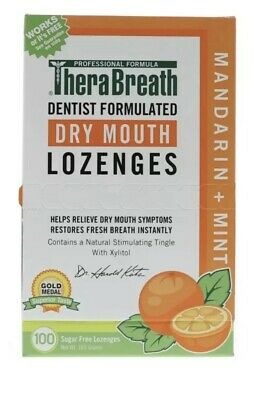 TheraBreath Mouth Wetting Lozenges, Mandarin Mint 100 ea (Pack of 4)