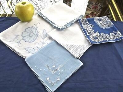Lot 5 Vintage Varietà Stili Cotone Fazzoletti Something Blu Matrimonio