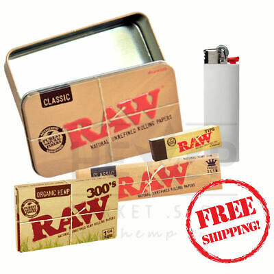 Raw Tin 300's Classic Rolling Papers Unbleached Tips and Lighter Bundle