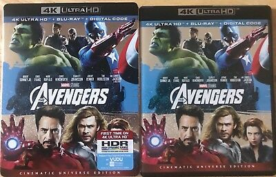 Marvel Avengers 4K Ultra Hd Blu Ray 2 Disc Set With Slipcover Free Shipping