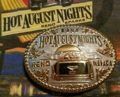 Hot August Nights 1st Belt Buckle, Reno 1987, Silver Crumrine, 1957 Chevy, Car