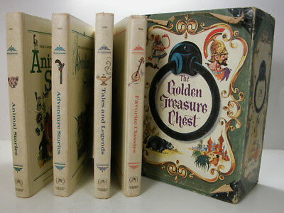 Vintage 1968 GOLDEN TREASURE CHEST Children Stories 4 Book Set With Slipcase Box